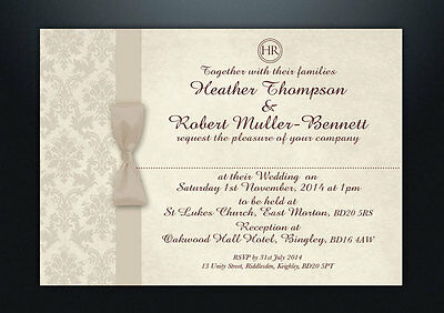 PERSONALISED DAMASK WEDDING DAY & EVENING INVITATIONS WITH ENVELOPES & P&P