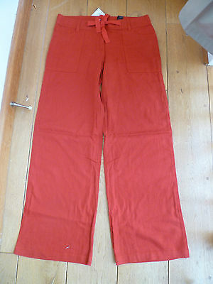 NEXT TOMATO RED LINEN MIX TROUSERS RELAXED STRAIGHT LEG 10 REGULAR BNWT
