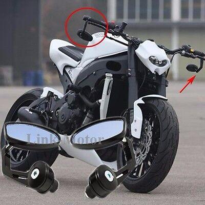 "BLACK UNIVERSAL MOTORCYCLE 7//8/"" HANDLE BAR END MIRRORS FOR HONDA SUZUKI KAWASAKI"