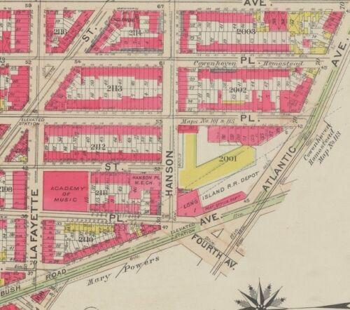 1908 FT GREENE PARK BROOKLYN NY ACADEMY OF MUSIC ATLANTIC LIRR STATION ATLAS MAP