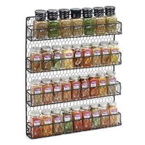 Spice-Rack-Organizer-Metal-4-Shelves-Wall-Mount-Pantry-Kitchen-Storage-Herbs