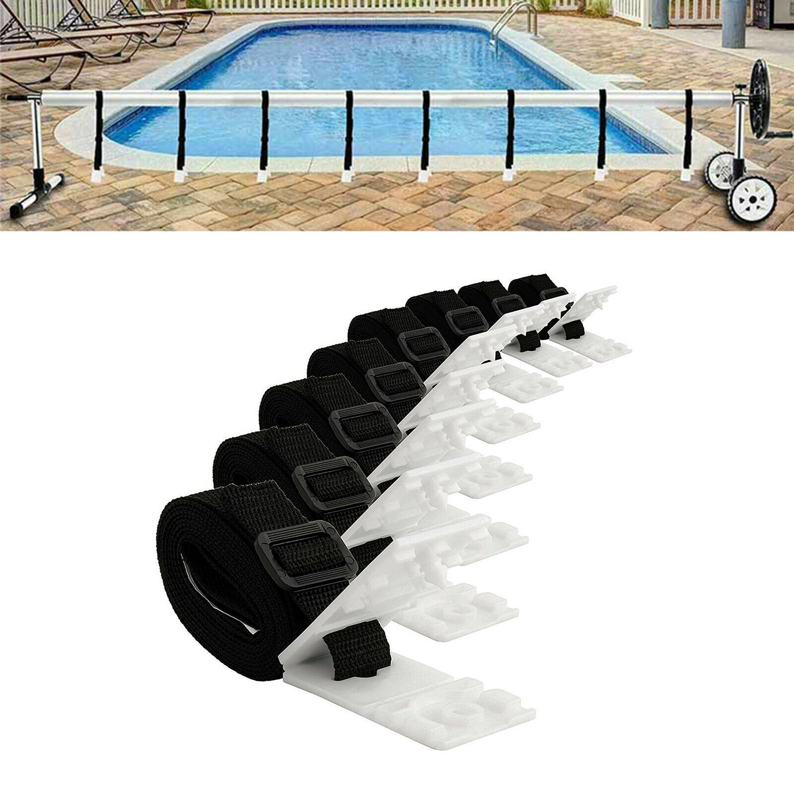 8x Pool Cover Roller Attachment Kit Easy and Convenient to Install and Use