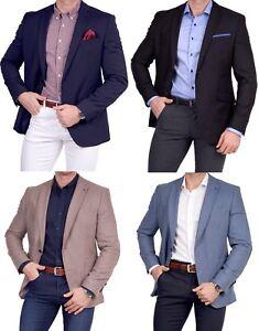 Herren-Sakko-Anzug-Blazer-Zweiknopf-Jackett-Fit-Schurwolle-Einreiher-Casual-blau