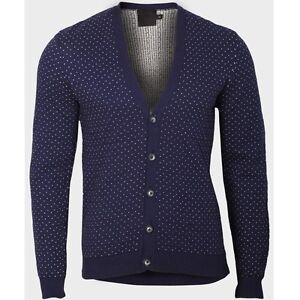 Mens Polka Dot Cardigan Sweater Jumper Vintage Button Cotton
