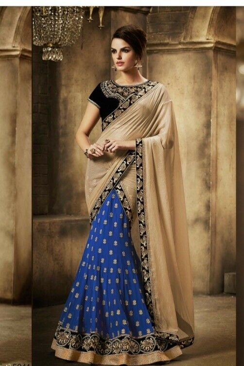 Beautiful navy bluee and gold Lengha saree. Reduced price for limited time