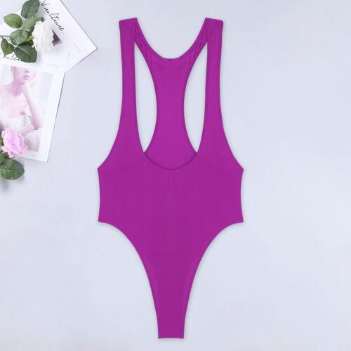 Women Open Chest Bardot Bodysuit Hi Cut Leotard Bikinis Swimwear Monokini Tops