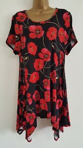 NEW-Size-16-18-Poppy-Print-Red-amp-Black-Hanky-Hem-Tunic-Top-Blouse-Floral-Summer