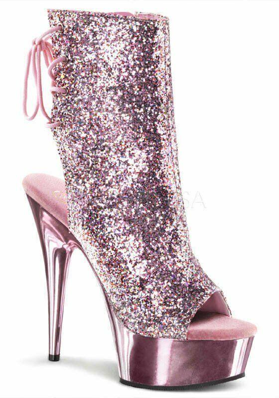 Pleaser DELIGHT-1018G Womens 6'' Heel, 1 3 4'' Platform Open Toe Back Ankle Boot