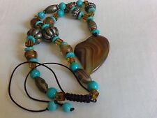 BOHEMIAN Agate HEART pendant Turquoise Glass beaded Boho Hippy Festival NECKLACE