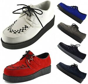 MENS-WOMENS-FLAT-PLATFORM-TEDDY-BOY-LACE-UP-GOTH-PUNK-CREEPERS-SHOES-BOOTS-SIZE
