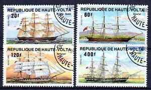 Bateaux-Haute-Volta-35-serie-complete-de-4-timbres-obliteres