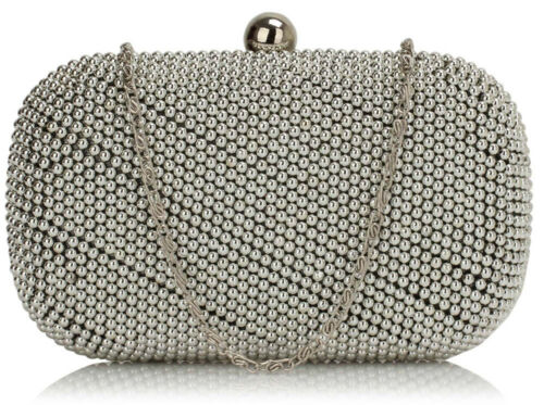 Beaded clutch Bag Womens Box Evening Handbag With Chain Designer Look Pearl New