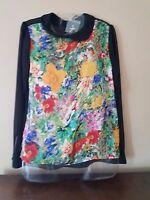Atmosphere Women's Uk 8 Black Floral Sheer Long Sleeve Polyester Shirt