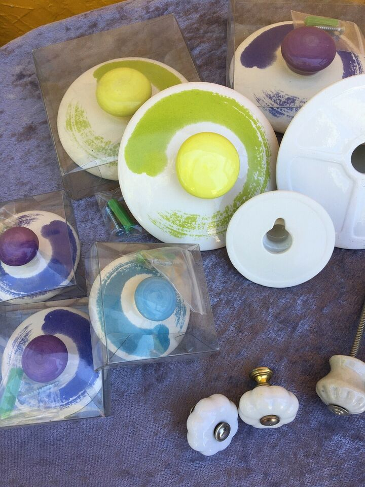 Håndmalet porcelæns knopper/dørgreb/knager, Ubrugte