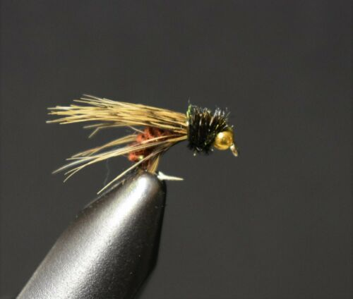 taille 14 BH Bead Head Minuit Pheasant Tail Nymph Fly Fishing Flies 2 mouches