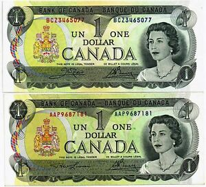 Canada-1973-bank-of-Canada-1-Dollars-Banknote-P85a-c-XF-aUNC-Condition