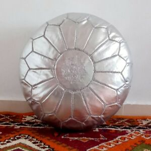 Peachy Details About Moroccan Pouf Leather Ottoman Footstool Handmade Silver Nice Pouffe Authentic Machost Co Dining Chair Design Ideas Machostcouk