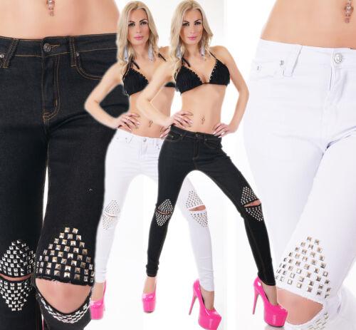 JEANS donna pantaloni SKINNY SLIM FIT STRETCH ginocchio crepe BORCHIE NERO BIANCO XS-XL