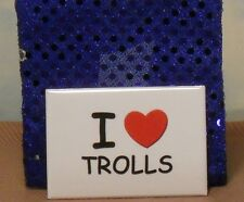 "3""X2"" metal fridge magnet: ""I [heart] Trolls"" TROLL DOLL sign/white/red/black"