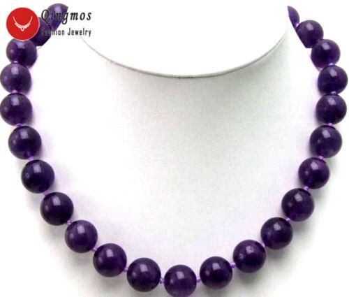 """14 mm violet foncé Ronde Naturelle Haute Qualité Jade 18/"""" les colliers collier pour femmes"""