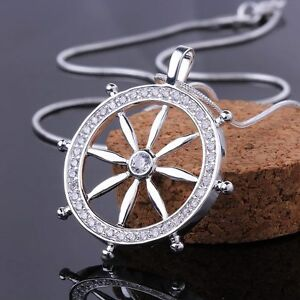 solid-charm-925-Silver-Fashion-Cute-Ladies-crystal-Zircon-Round-Necklace-jewelry