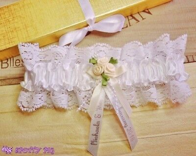 Personalised Wedding Garter Bride Ivory White Handmade Lingerie Crystal Bow Hen