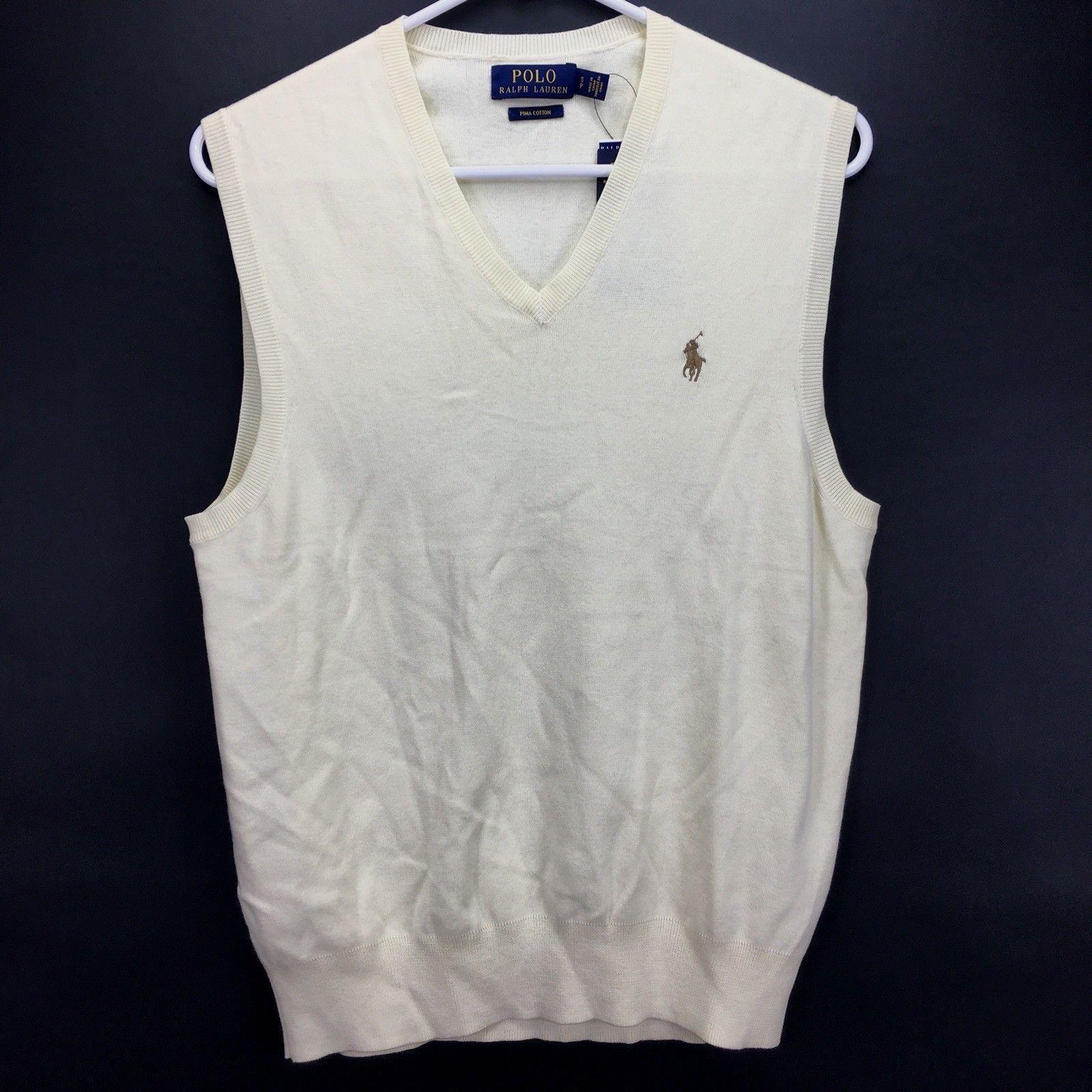 Polo Ralph Lauren Mens Core Solid Pima Cotton Sweater Vest Light Yellow S