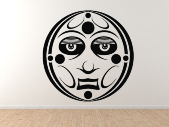 Ancient Ornament - Aztec Mayan Moon Spirit Tribal Face Mask - Vinyl Wand Decal