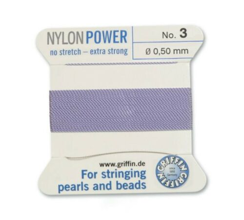 LILAC PURPLE NYLON POWER SILKY THREAD 0.50mm STRINGING PEARLS /& BEADS GRIFFIN 3
