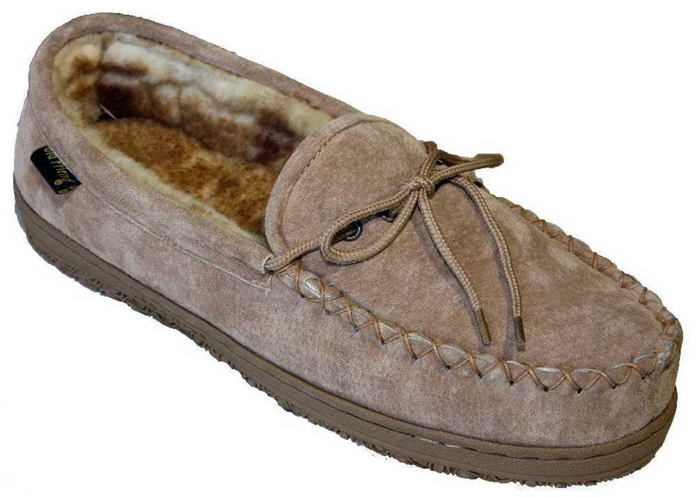 Old Friend Footwear Men's Sheepskin Loafer Moccasin Slippers, Reg. to Extra Wide