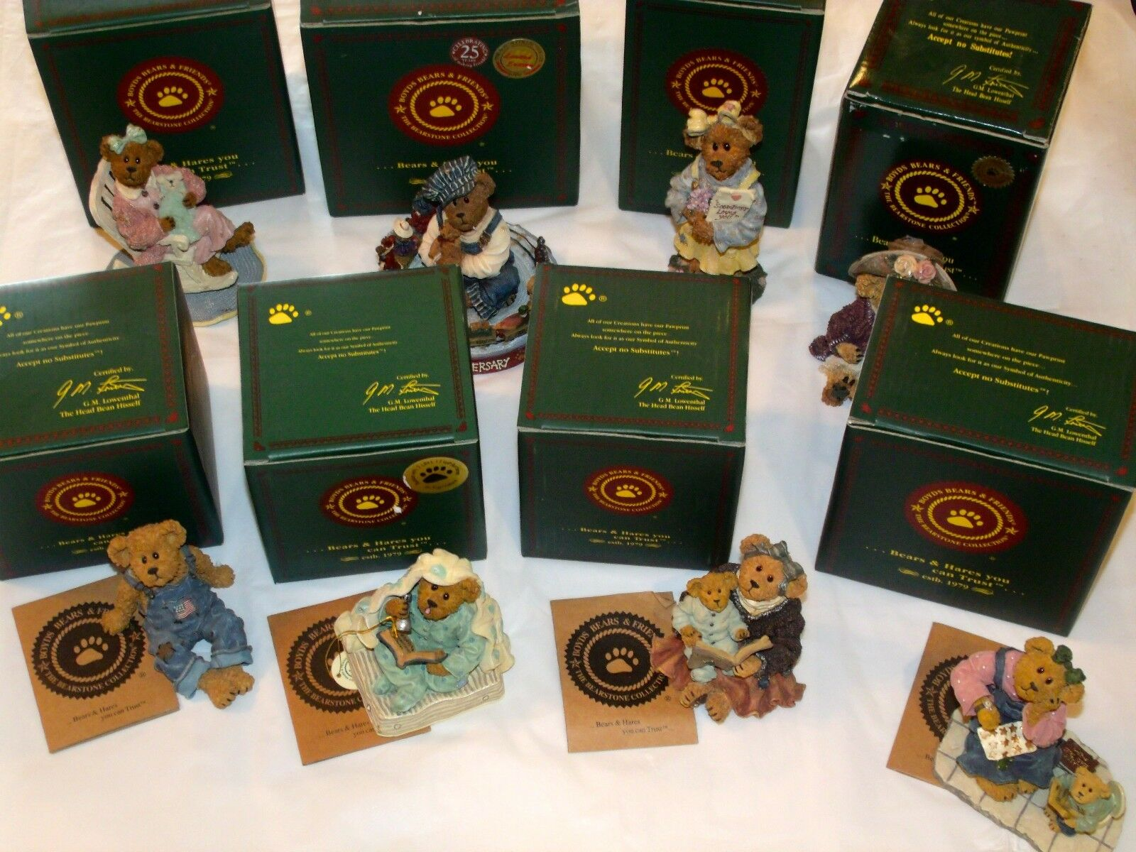 Lot Of 8 Boyds Bears Bearstone Collection Figurines All New In Boxes - Nice Lot