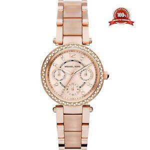 Michael-Kors-33mm-MK6110-Ladies-Mini-Parker-Rose-Gold-Chronograph-Two-Tone-Watch
