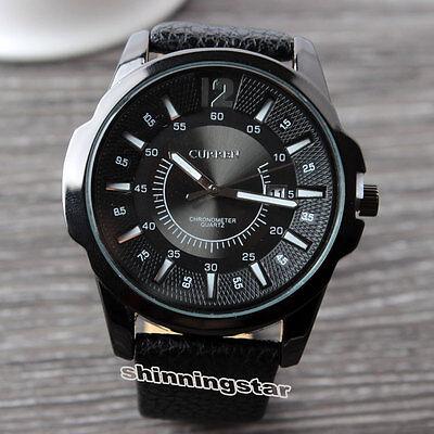 CURREN Men Date Dial Chronometer Leather Black Band Quartz New Wrist Watch Q4211