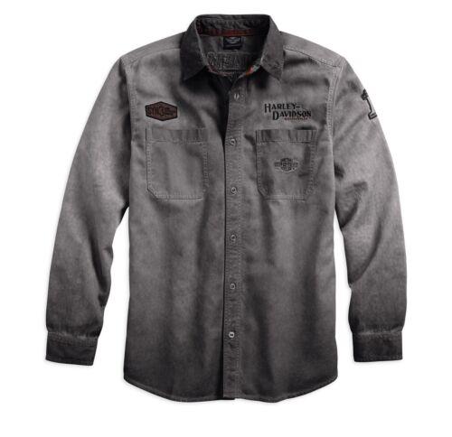 Grigio HARLEY-DAVIDSON IRON blocco Long Sleeve Shirt Taglia XL-Uomo Camicia Manica Lunga