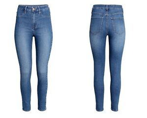 8e8a52c1cdee H M Womens Skinny High Ankle Jeans Washed Stretch Denim High Waist ...