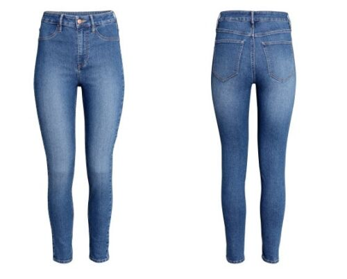 H/&M Womens Skinny High Ankle Jeans Washed Stretch Denim High Waist Ultra Slim
