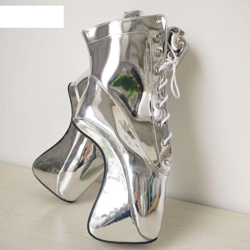 Plata PVC botas al al al Tobillo Alto Pony Ballet, Alta Sexy Corsé bota, cura, 87c888