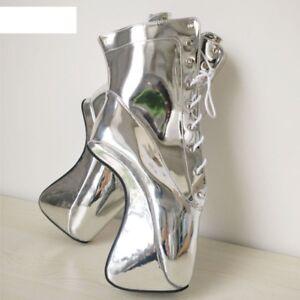 sexy cavallino alti in guarigioni argento corsetto scarponi in balletto da Stivali pvc RwSF11