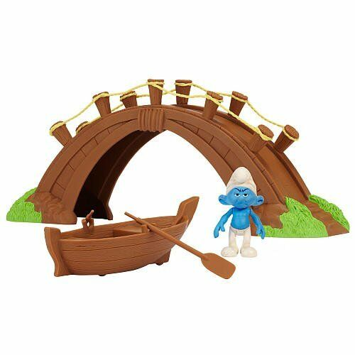 GROUCHY IN THE SMURFS VILLAGE BRIDGE AND BOAT GIFT SET  - BNIB