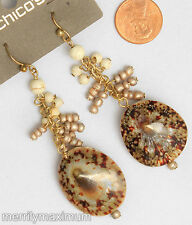 Chico's Earrings Gold Tone Chain Double Sided Real Shell Dangles Bead Accent NWT