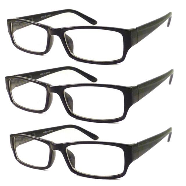 e80db49d2c8 3 PC BLACK FRAME RETRO Geek Nerd Non Prescription Vintage Clear Lens Eye  Glasses