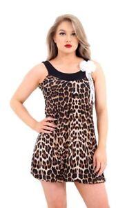 Womens Sleeveless Broach Top Ladies Animal Leopard Contrast Print Drape Dress
