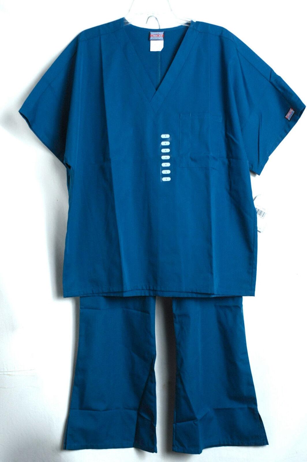 aa403d3c483 Cherokee Womens V-neck Scrub Top Caribbean Blue Large