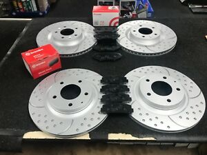 FOR-MAZDA-RX8-BRAKE-DISC-DIMPLED-GROOVED-BREMBO-BRAKE-PADS-FRONT-REAR