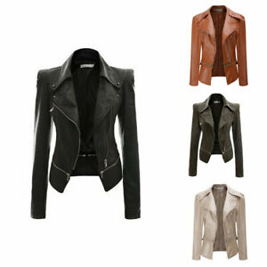 Details about Women's Ladies PU Leather Jacket Flight Coat Zip Up Biker Casual Tops Outfit New