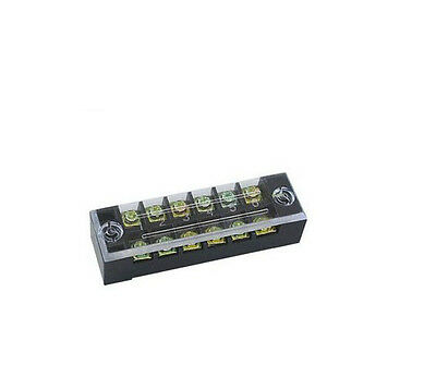 2Pcs TB-1506 600V 15A Double Rows Cover Guard 6Position Terminal Blocks NEW
