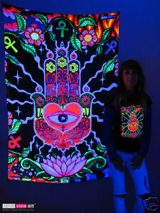 Details About Hamsa Eye Hand Psychedelic Art Uv Blacklight Tapestry Wall Hanging Backdrop Deco