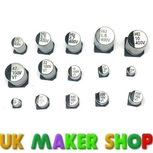 choose from 1uF to 220uF SMD electrolytic capacitors Pack of 10