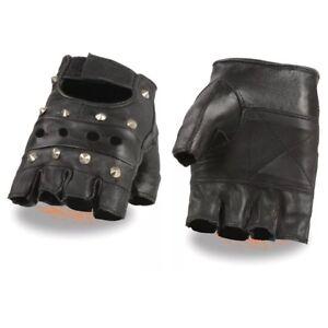 Genuine Leather Black Leather Gloves Fingerless Mens Skull Motorcycle XS 3XL