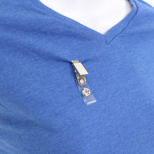 25 Pcs CLOTHING FRIENDLY id Badge Holder Name Tag Clips Metal Spring PVC Strap
